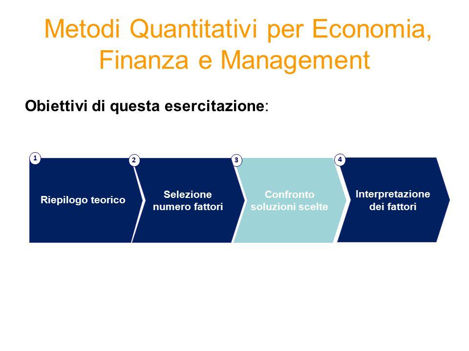 Metodi Quantitativi per Economia, Finanza e Management Obiettivi di questa esercitazione: Confronto soluzioni scelte 3 Riepilogo teorico 1 Selezione n