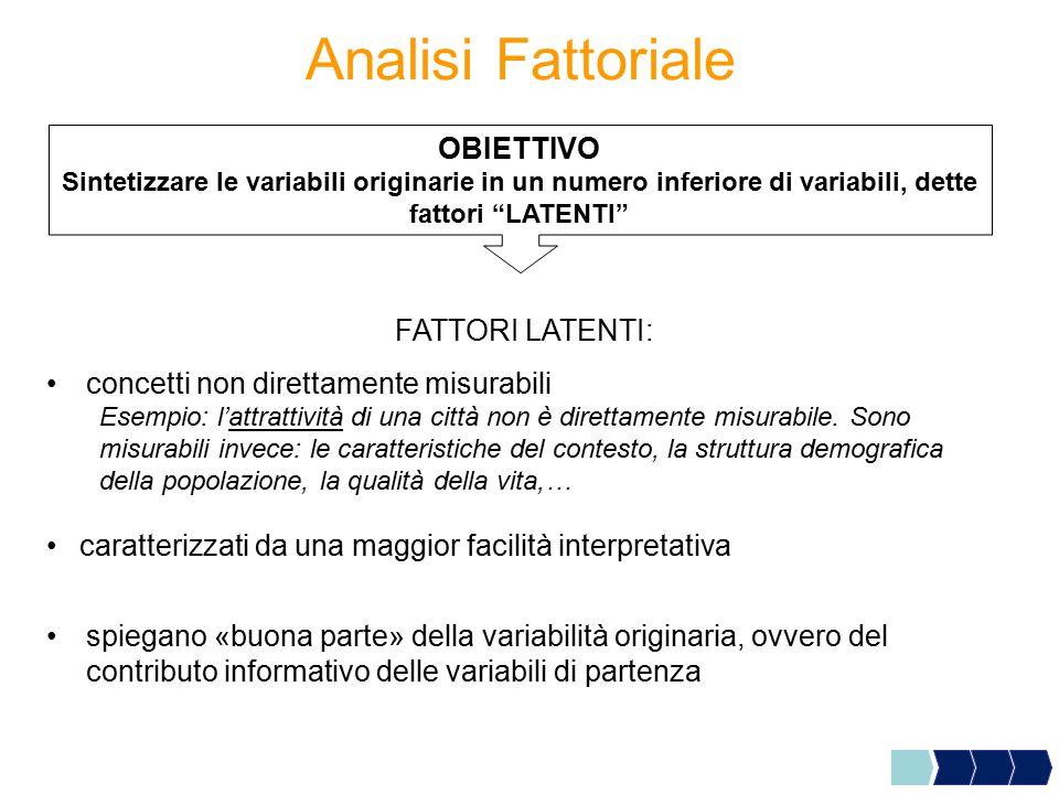 """Analisi Fattoriale OBIETTIVO Sintetizzare le variabili originarie in un numero inferiore di variabili, dette fattori """"LATENTI"""" FATTORI LATENTI: concet"""