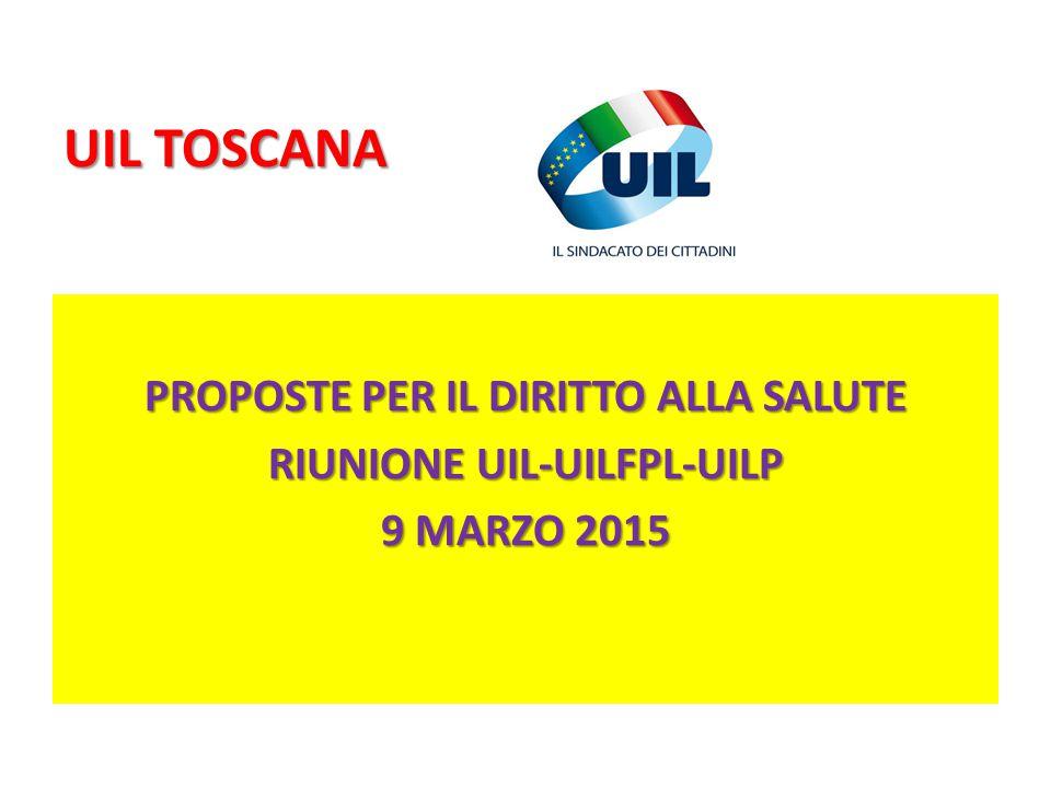 UIL TOSCANA PROPOSTE PER IL DIRITTO ALLA SALUTE RIUNIONE UIL-UILFPL-UILP 9 MARZO 2015