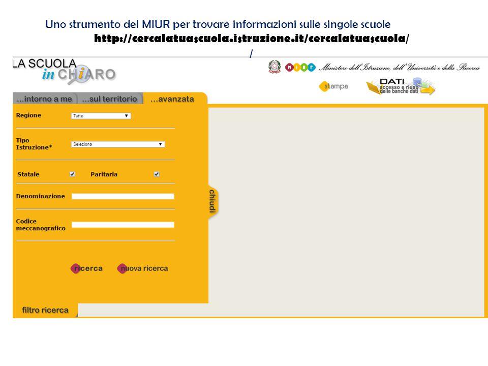Uno strumento del MIUR per trovare informazioni sulle singole scuole http://cercalatuascuola.istruzione.it/cercalatuascuola / /
