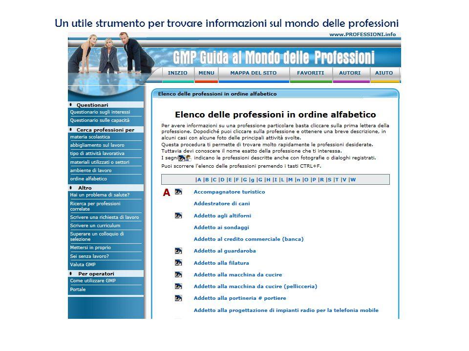 Un utile strumento per trovare informazioni sul mondo delle professioni