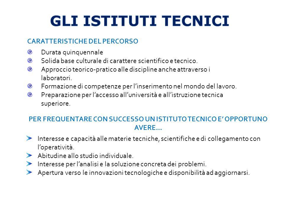 CARATTERISTICHE DEL PERCORSO Durata quinquennale Base culturale generale e tecnico-professionale.