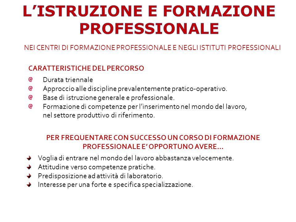 CARATTERISTICHE DEL PERCORSO Durata triennale Approccio alle discipline prevalentemente pratico-operativo.