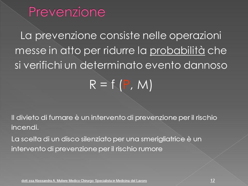 La prevenzione consiste nelle operazioni messe in atto per ridurre la probabilità che si verifichi un determinato evento dannoso R = f (P, M) Il divie