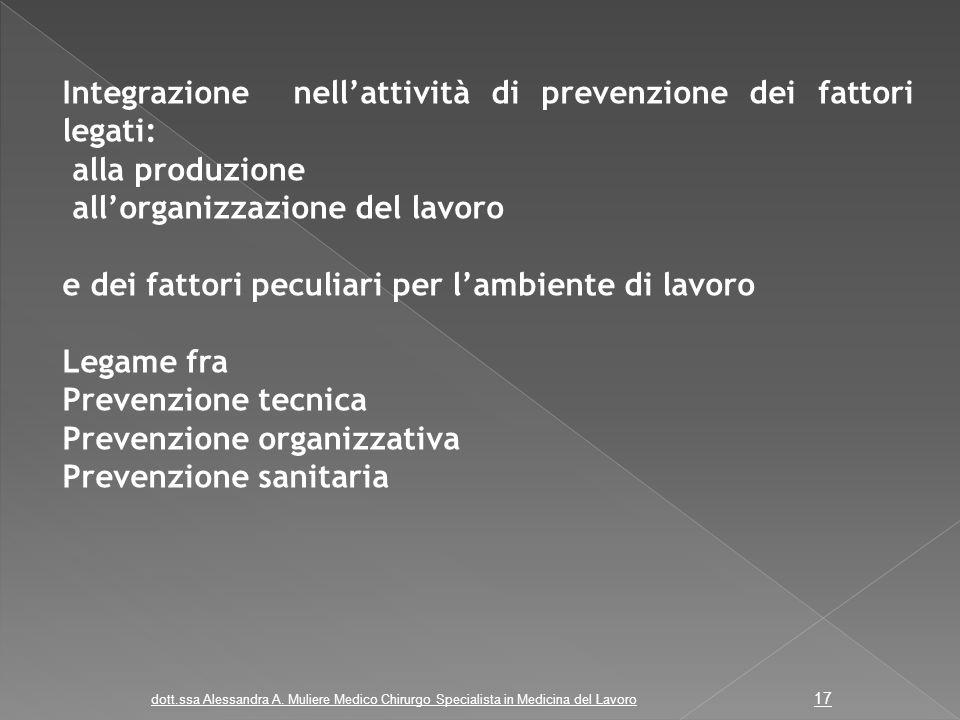 Integrazione nell'attività di prevenzione dei fattori legati: alla produzione all'organizzazione del lavoro e dei fattori peculiari per l'ambiente di