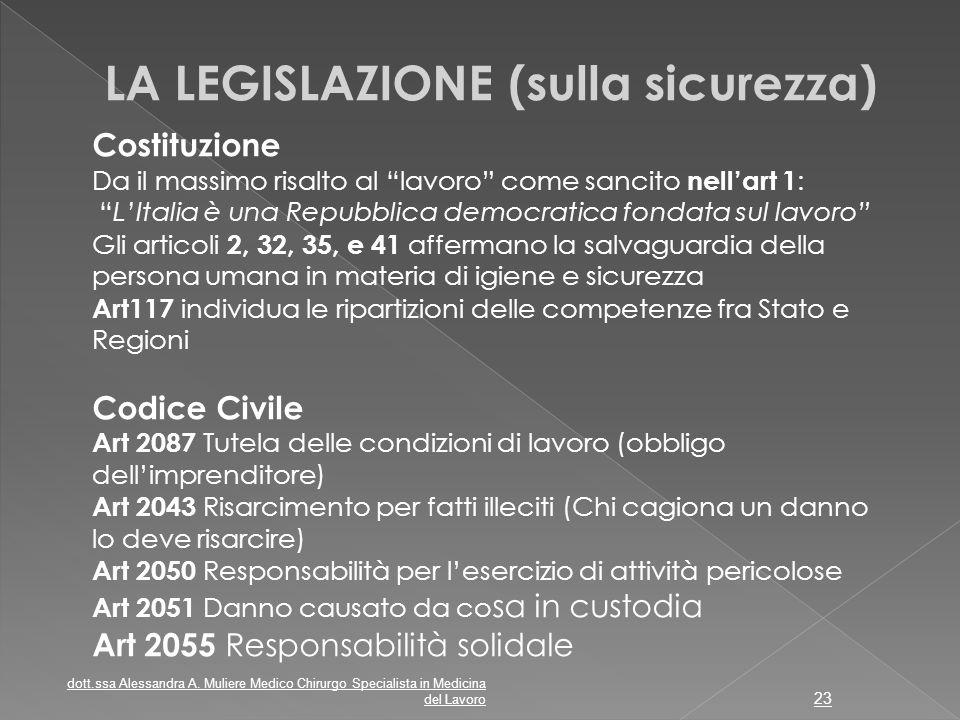 """LA LEGISLAZIONE (sulla sicurezza) Costituzione Da il massimo risalto al """"lavoro"""" come sancito nell'art 1 : """"L'Italia è una Repubblica democratica fond"""