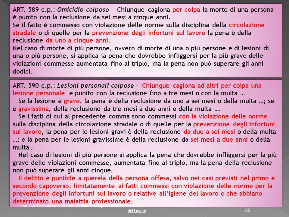 ART. 589 c.p.: Omicidio colposo - Chiunque cagiona per colpa la morte di una persona è punito con la reclusione da sei mesi a cinque anni. Se il fatto