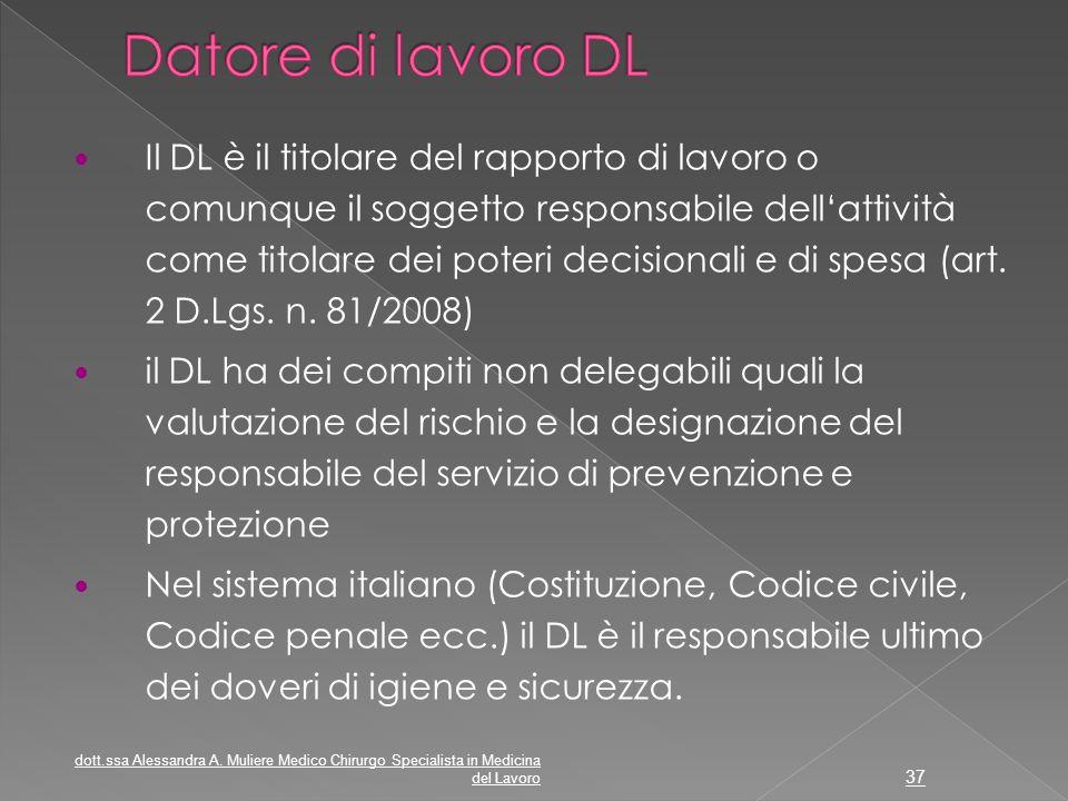 Il DL è il titolare del rapporto di lavoro o comunque il soggetto responsabile dell'attività come titolare dei poteri decisionali e di spesa (art. 2 D