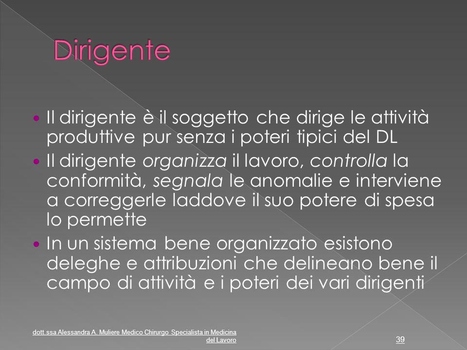 Il dirigente è il soggetto che dirige le attività produttive pur senza i poteri tipici del DL Il dirigente organizza il lavoro, controlla la conformit