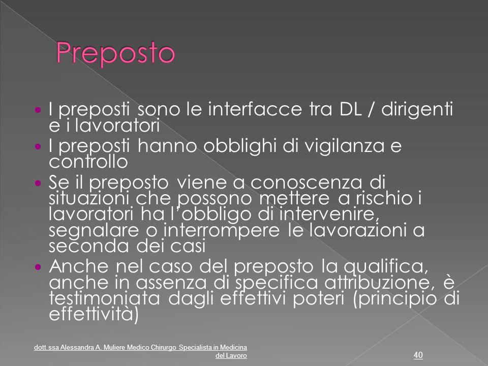 I preposti sono le interfacce tra DL / dirigenti e i lavoratori I preposti hanno obblighi di vigilanza e controllo Se il preposto viene a conoscenza d