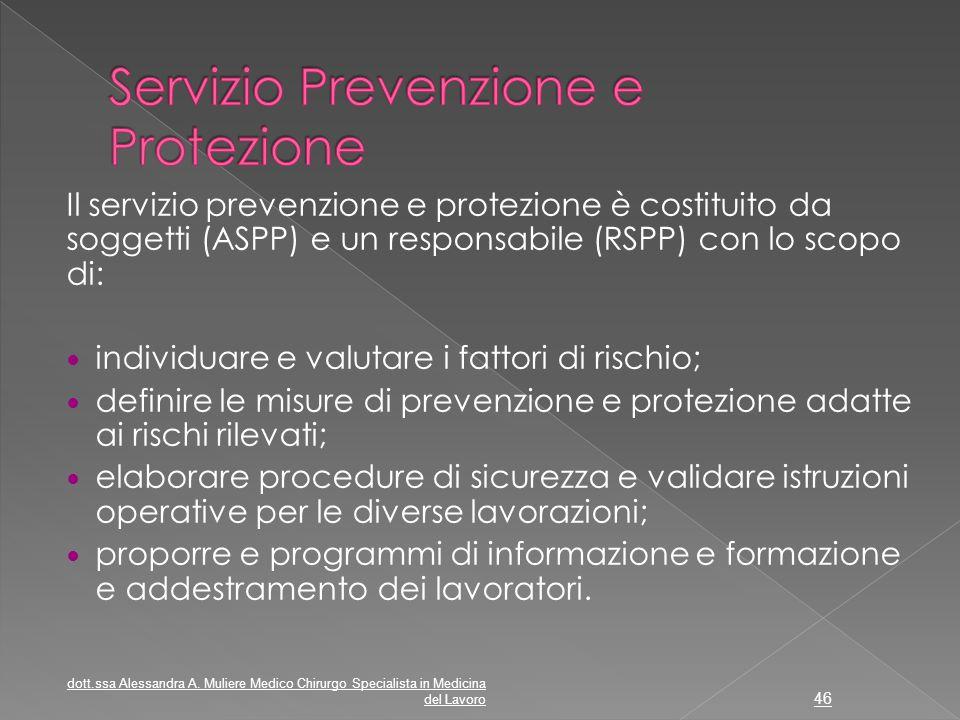 Il servizio prevenzione e protezione è costituito da soggetti (ASPP) e un responsabile (RSPP) con lo scopo di: individuare e valutare i fattori di ris