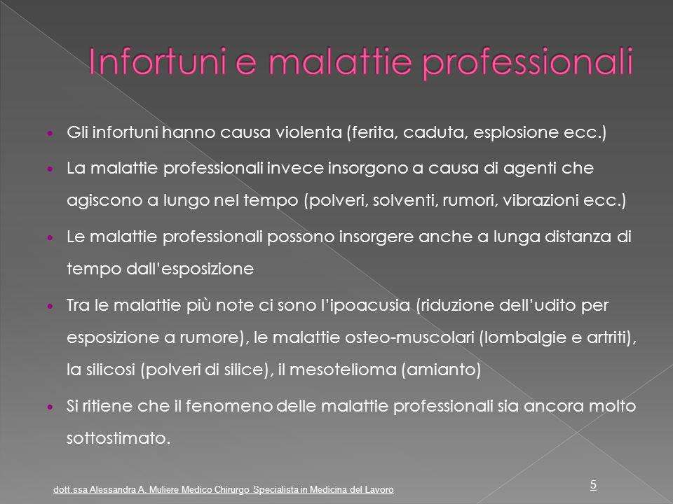 Gli infortuni hanno causa violenta (ferita, caduta, esplosione ecc.) La malattie professionali invece insorgono a causa di agenti che agiscono a lungo