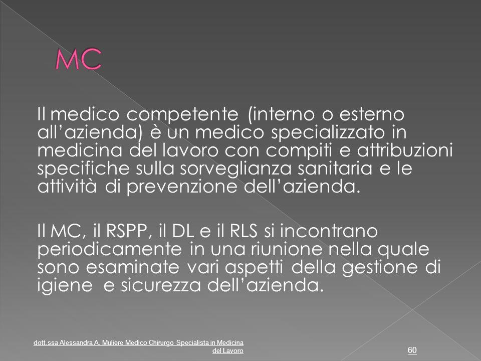 Il medico competente (interno o esterno all'azienda) è un medico specializzato in medicina del lavoro con compiti e attribuzioni specifiche sulla sorv