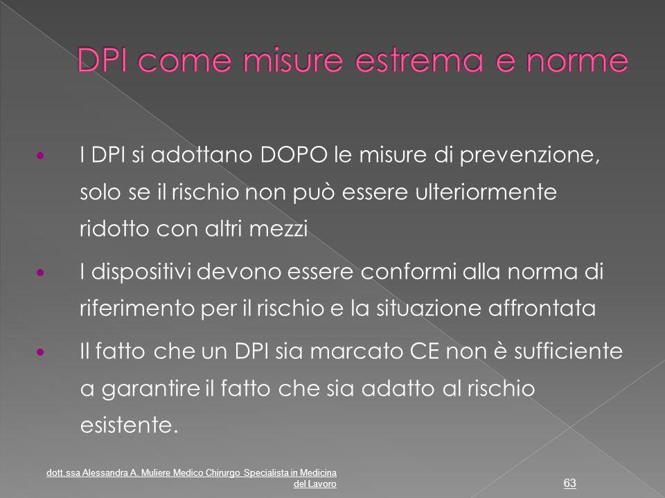 I DPI si adottano DOPO le misure di prevenzione, solo se il rischio non può essere ulteriormente ridotto con altri mezzi I dispositivi devono essere c