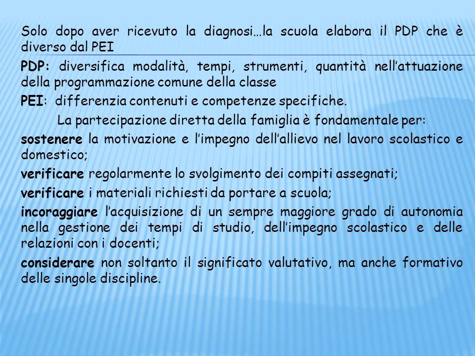 Solo dopo aver ricevuto la diagnosi…la scuola elabora il PDP che è diverso dal PEI PDP: diversifica modalità, tempi, strumenti, quantità nell'attuazio
