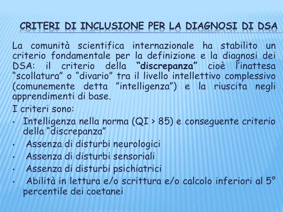 """La comunità scientifica internazionale ha stabilito un criterio fondamentale per la definizione e la diagnosi dei DSA: il criterio della """"discrepanza"""""""
