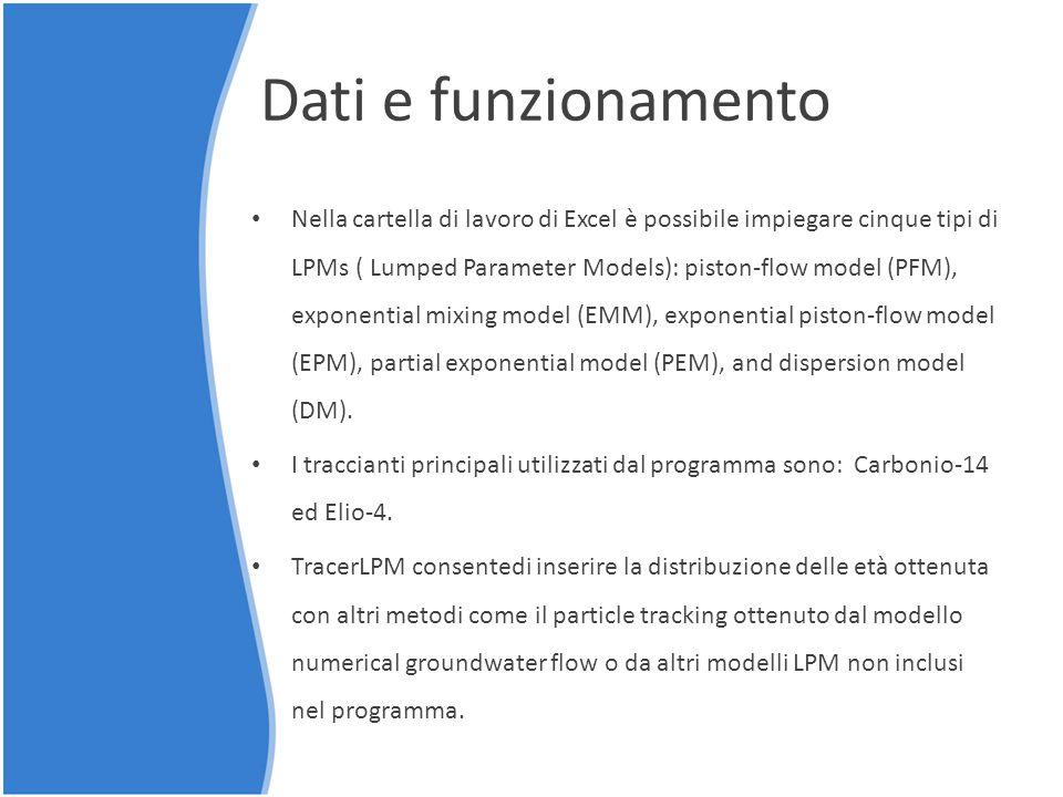 Dati e funzionamento Nella cartella di lavoro di Excel è possibile impiegare cinque tipi di LPMs ( Lumped Parameter Models): piston-flow model (PFM),