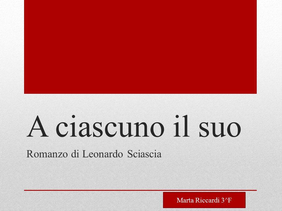 A ciascuno il suo Romanzo di Leonardo Sciascia Marta Riccardi 3^F