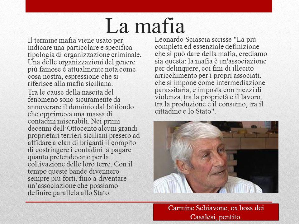 La mafia Il termine mafia viene usato per indicare una particolare e specifica tipologia di organizzazione criminale. Una delle organizzazioni del gen