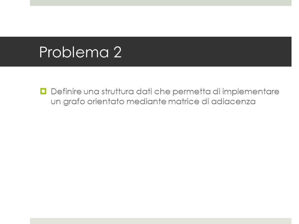 Problema 2  Definire una struttura dati che permetta di implementare un grafo orientato mediante matrice di adiacenza