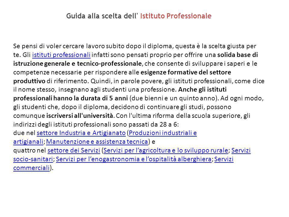 Guida alla scelta dell Istituto Professionale Se pensi di voler cercare lavoro subito dopo il diploma, questa è la scelta giusta per te.