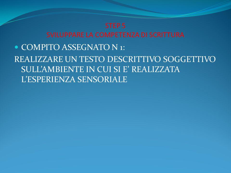 STEP 5 SVILUPPARE LA COMPETENZA DI SCRITTURA COMPITO ASSEGNATO N 1: REALIZZARE UN TESTO DESCRITTIVO SOGGETTIVO SULL'AMBIENTE IN CUI SI E' REALIZZATA L