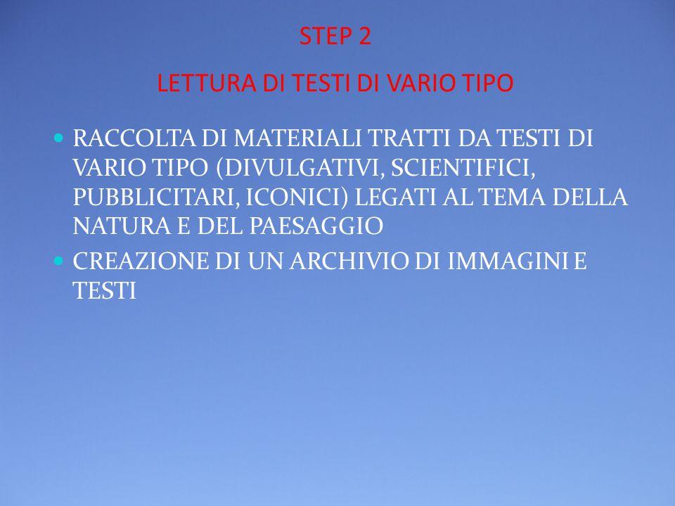 STEP 2 LETTURA DI TESTI DI VARIO TIPO RACCOLTA DI MATERIALI TRATTI DA TESTI DI VARIO TIPO (DIVULGATIVI, SCIENTIFICI, PUBBLICITARI, ICONICI) LEGATI AL