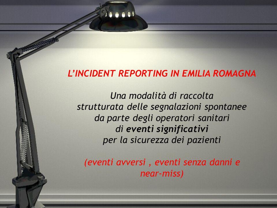 L'INCIDENT REPORTING IN EMILIA ROMAGNA Una modalità di raccolta strutturata delle segnalazioni spontanee da parte degli operatori sanitari di eventi s