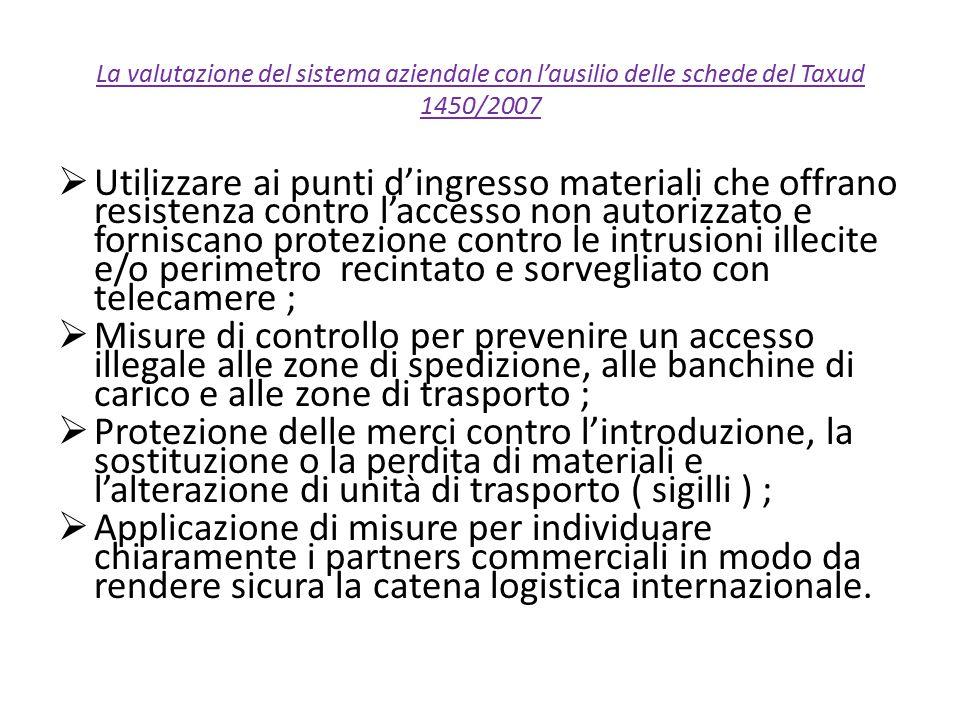 La valutazione del sistema aziendale con l'ausilio delle schede del Taxud 1450/2007  Utilizzare ai punti d'ingresso materiali che offrano resistenza