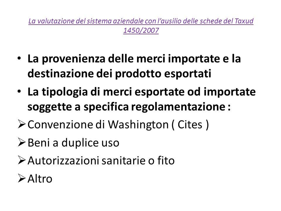 La valutazione del sistema aziendale con l'ausilio delle schede del Taxud 1450/2007 La provenienza delle merci importate e la destinazione dei prodott