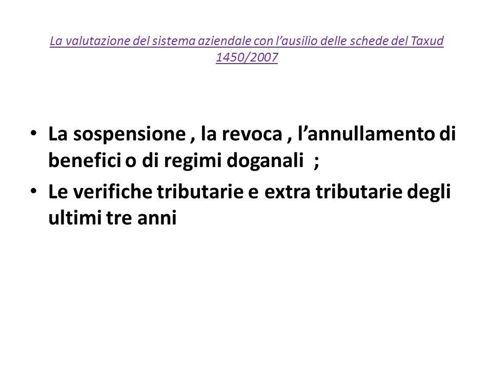 La valutazione del sistema aziendale con l'ausilio delle schede del Taxud 1450/2007 La sospensione, la revoca, l'annullamento di benefici o di regimi