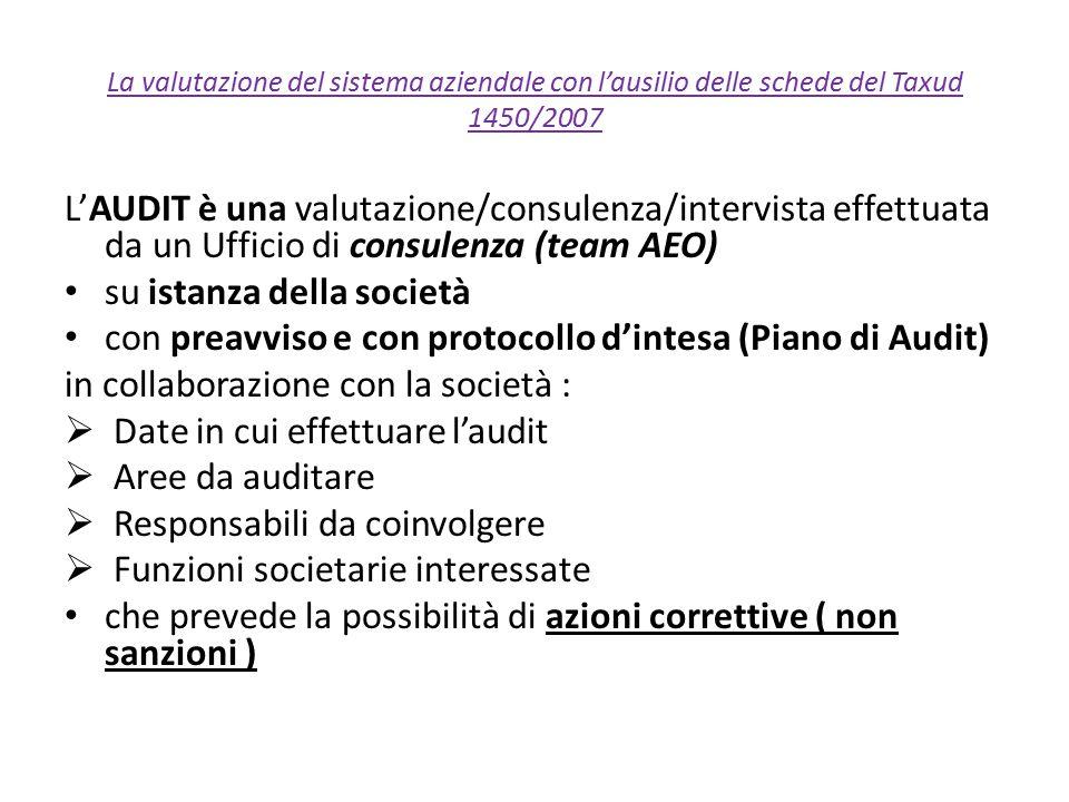 La valutazione del sistema aziendale con l'ausilio delle schede del Taxud 1450/2007 L'AUDIT è una valutazione/consulenza/intervista effettuata da un U