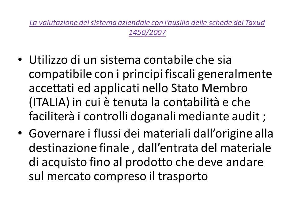 La valutazione del sistema aziendale con l'ausilio delle schede del Taxud 1450/2007 Utilizzo di un sistema contabile che sia compatibile con i princip