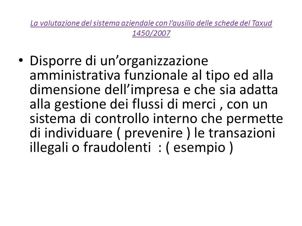 La valutazione del sistema aziendale con l'ausilio delle schede del Taxud 1450/2007 Disporre di un'organizzazione amministrativa funzionale al tipo ed