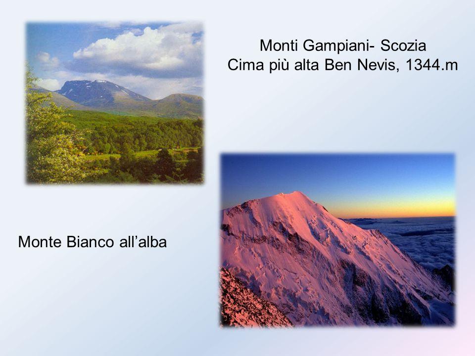 Monti Gampiani- Scozia Cima più alta Ben Nevis, 1344.m Monte Bianco all'alba