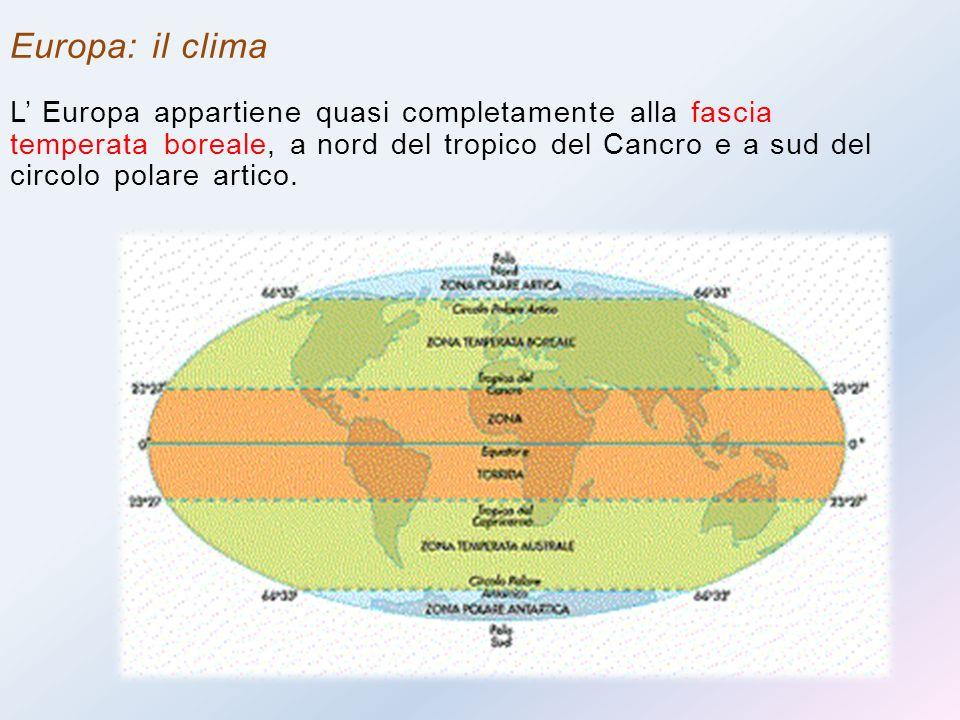 Europa: il clima L' Europa appartiene quasi completamente alla fascia temperata boreale, a nord del tropico del Cancro e a sud del circolo polare arti