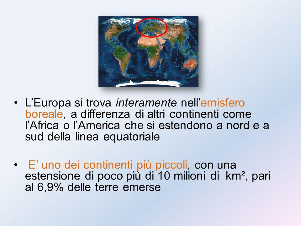 L'Europa si trova interamente nell'emisfero boreale, a differenza di altri continenti come l'Africa o l'America che si estendono a nord e a sud della