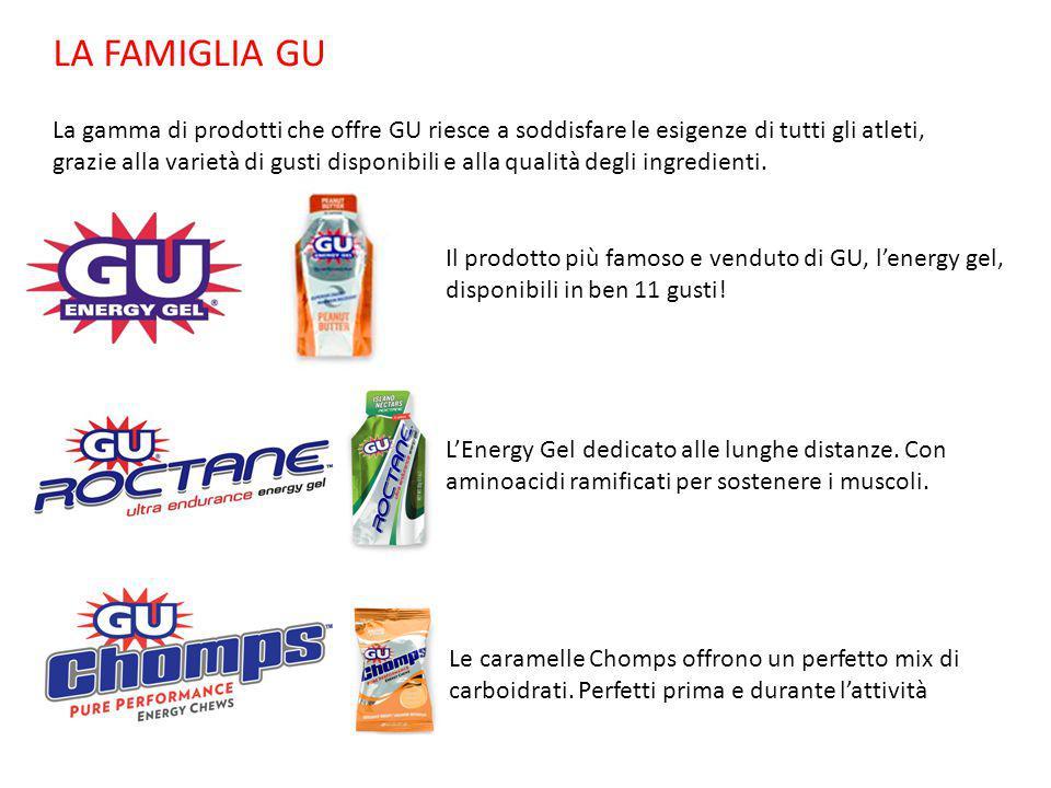 LA FAMIGLIA GU La gamma di prodotti che offre GU riesce a soddisfare le esigenze di tutti gli atleti, grazie alla varietà di gusti disponibili e alla