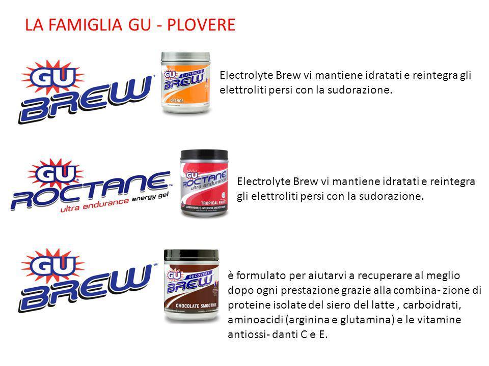 LA FAMIGLIA GU - PLOVERE Electrolyte Brew vi mantiene idratati e reintegra gli elettroliti persi con la sudorazione. è formulato per aiutarvi a recupe