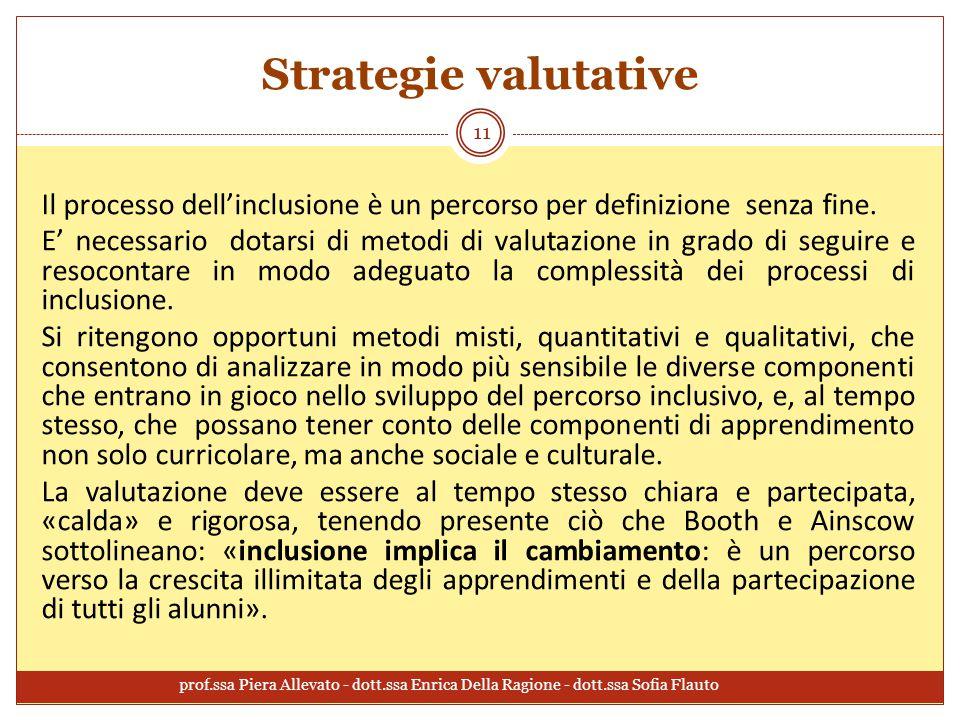 Strategie valutative Il processo dell'inclusione è un percorso per definizione senza fine. E' necessario dotarsi di metodi di valutazione in grado di