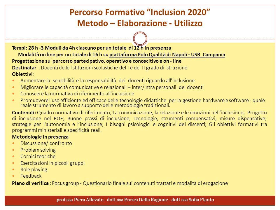 """Percorso Formativo """"Inclusion 2020"""" Metodo – Elaborazione - Utilizzo Tempi: 28 h -3 Moduli da 4h ciascuno per un totale di 12 h in presenza Modalità o"""