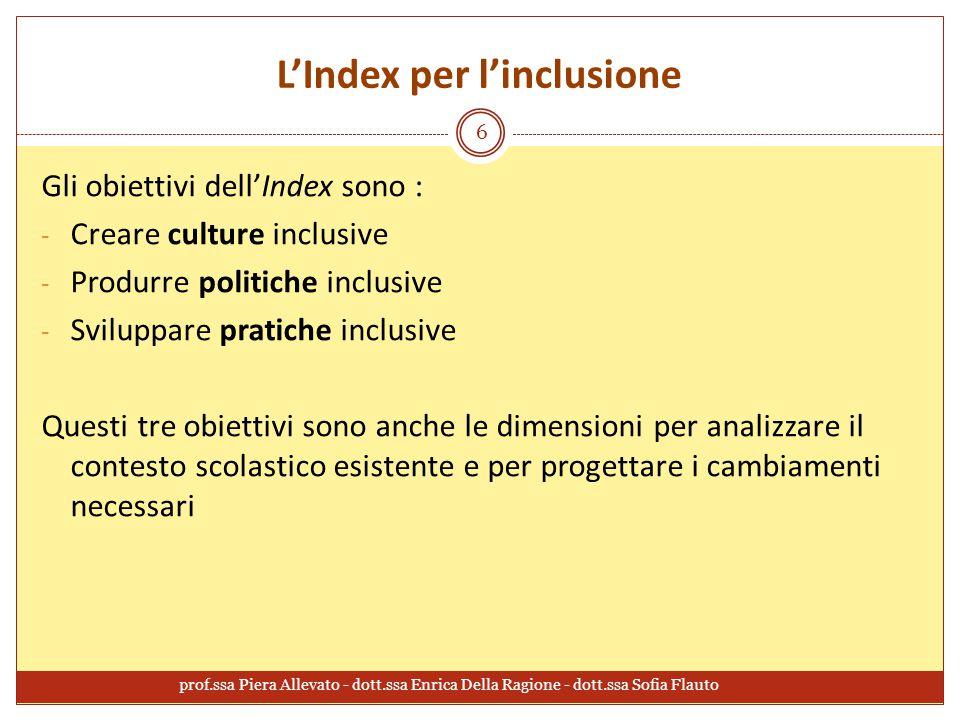 L'Index per l'inclusione prof.ssa Piera Allevato - dott.ssa Enrica Della Ragione - dott.ssa Sofia Flauto 6 Gli obiettivi dell'Index sono : - Creare cu