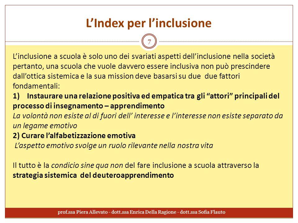 L'Index per l'inclusione L'inclusione a scuola è solo uno dei svariati aspetti dell'inclusione nella società pertanto, una scuola che vuole davvero es