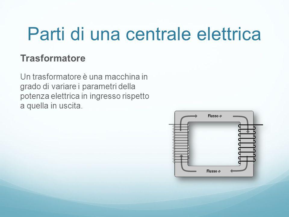 Parti di una centrale elettrica Trasformatore Un trasformatore è una macchina in grado di variare i parametri della potenza elettrica in ingresso rispetto a quella in uscita.