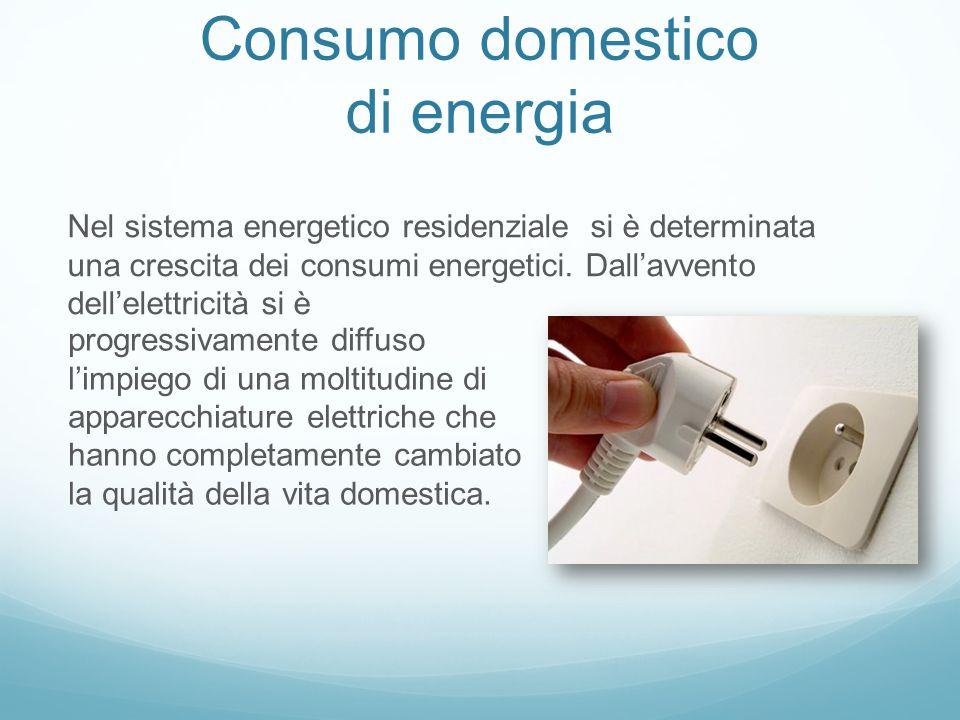 Consumo domestico di energia progressivamente diffuso l'impiego di una moltitudine di apparecchiature elettriche che hanno completamente cambiato la qualità della vita domestica.