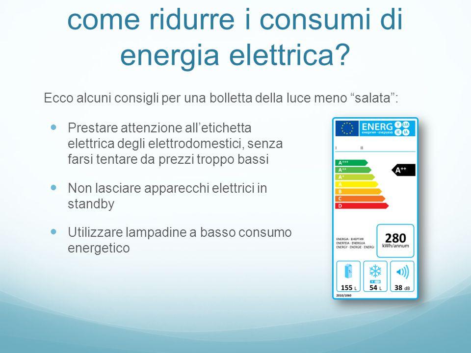come ridurre i consumi di energia elettrica.