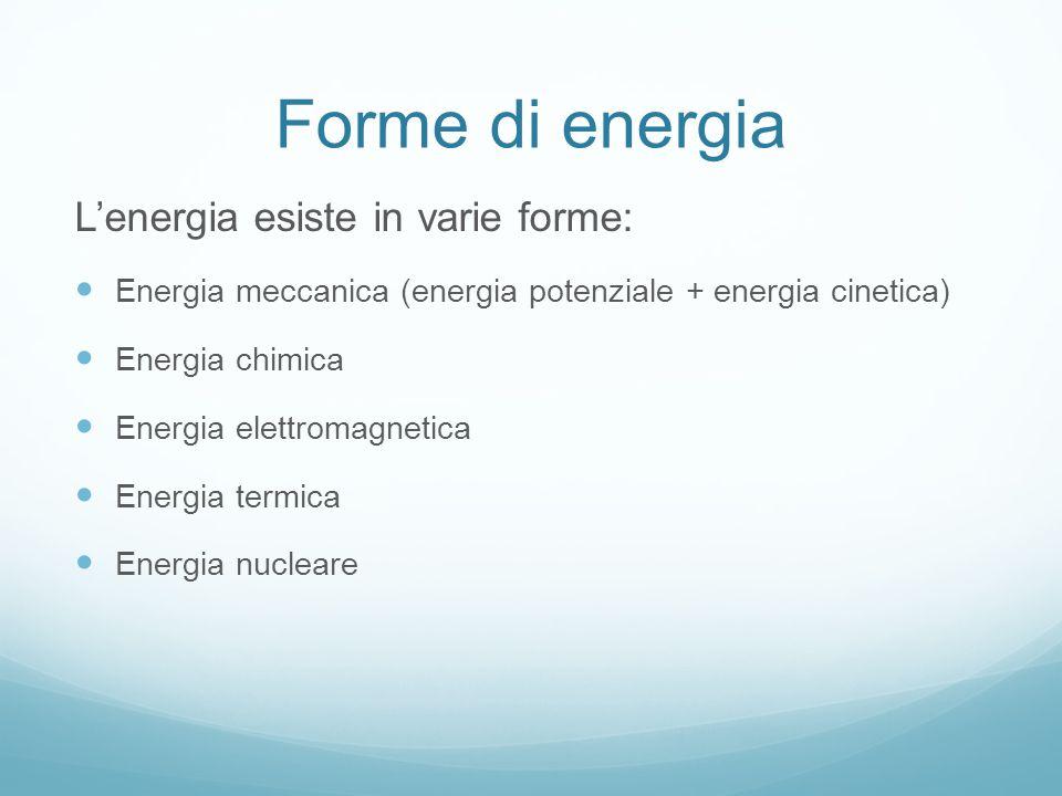 Forme di energia L'energia esiste in varie forme: Energia meccanica (energia potenziale + energia cinetica) Energia chimica Energia elettromagnetica Energia termica Energia nucleare