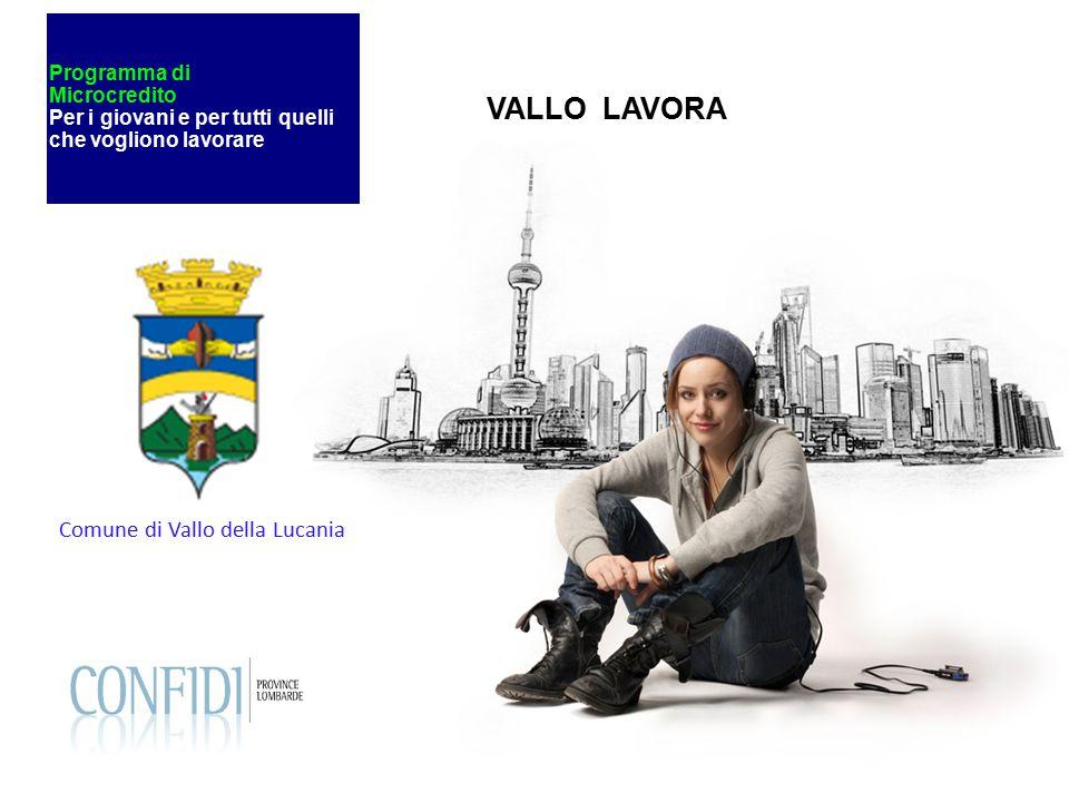 Programma di Microcredito Per i giovani e per tutti quelli che vogliono lavorare Comune di Vallo della Lucania VALLO LAVORA
