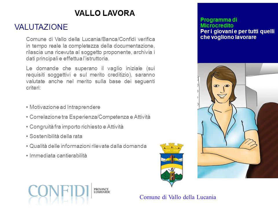Comune di Vallo della Lucania/Banca/Confidi verifica in tempo reale la completezza della documentazione, rilascia una ricevuta al soggetto proponente, archivia i dati principali e effettua l'istruttoria.
