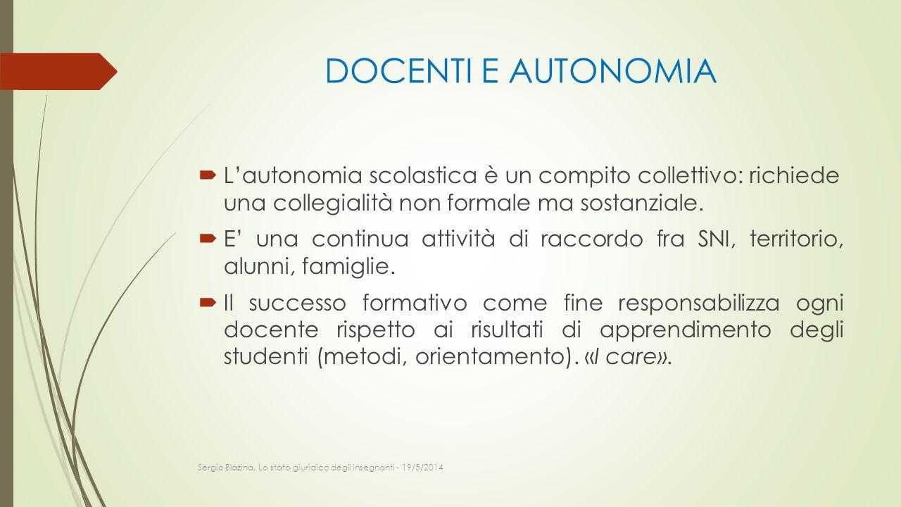 DOCENTI E AUTONOMIA  L'autonomia scolastica è un compito collettivo: richiede una collegialità non formale ma sostanziale.  E' una continua attività